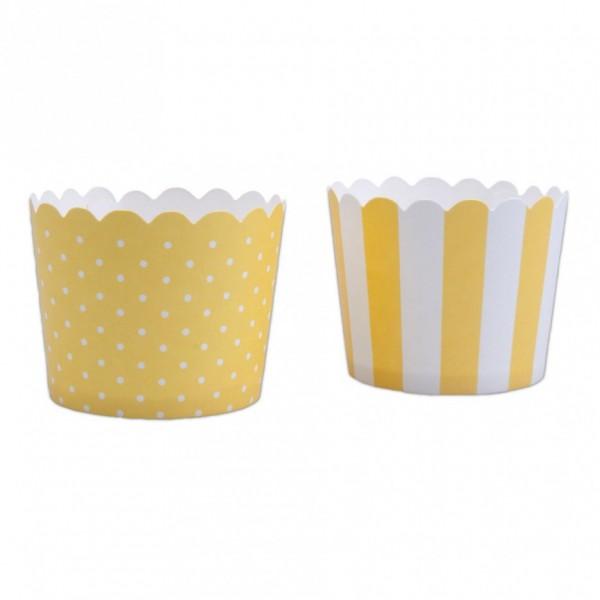 Cupcake Gelb-Weiß