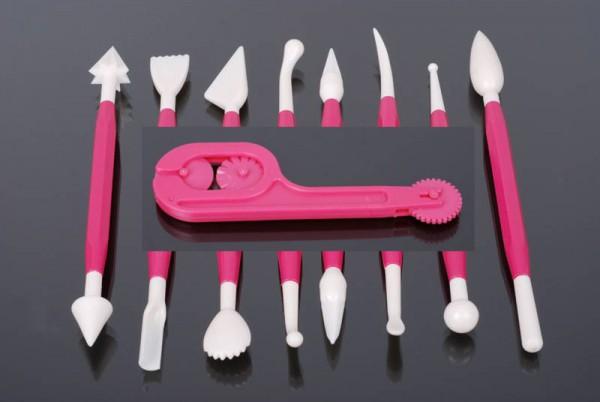 Cutter/Embosser 12cm WEIß & Modellier Set 8tlg PINK