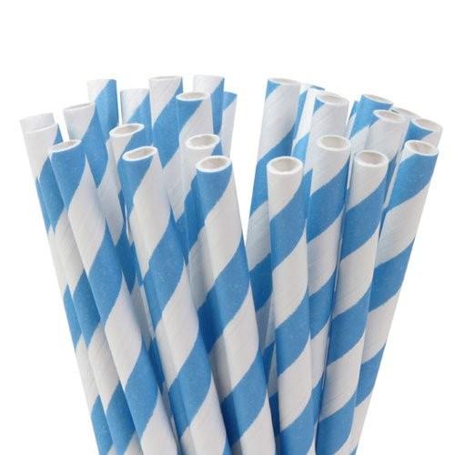 HOM Lolly Pop / Pop Cake Sticks 15cm Stripes Sky Blue