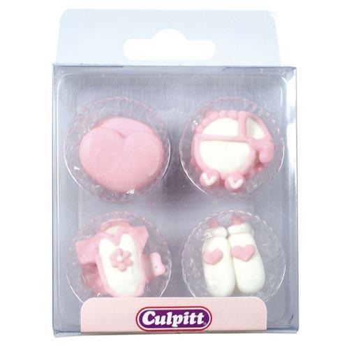 Culpitt, Zuckerdeko Baby Rosa/Weiß, 12 Stk