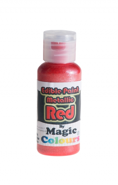Magic Colours, Essbare Metallicfarbe - Rot, 32 g MHD 12/20