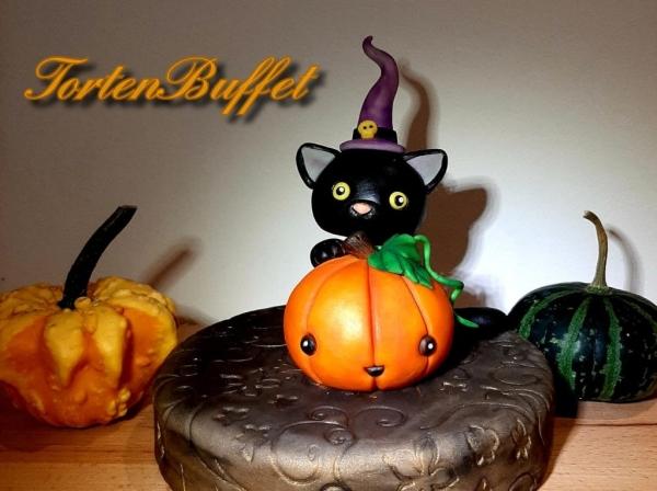 Modellieren Halloween Kätzchen mit Kürbis