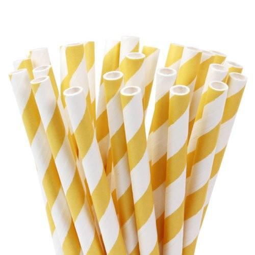 HOM Lolly Pop / Pop Cake Sticks 15cm Stripes Soft Yellow
